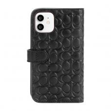 Coach Leather Folio Case for iPhone 12 - Signature C Deboss Black