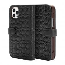 Coach Leather Folio Case for iPhone 12 Pro - Signature C Deboss Black