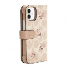 Coach Folio Case for iPhone 12 - Floral Bow Signature C Sand/Multi Printed/Glitter Accents