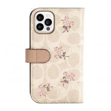 Coach Folio Case for iPhone 12 Pro - Floral Bow Signature C Sand/Multi Printed/Glitter Accents
